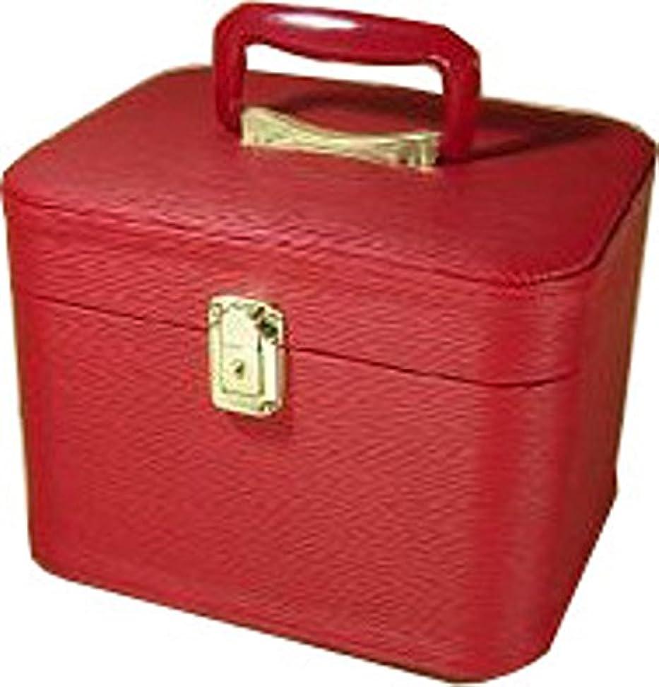 電圧カエルくぼみメイクボックス 水シボ26cmヨコレッドお化粧入れ メイクケース,メイクボックス,コスメボックス,トレンチケース,化粧箱