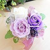 【ベルシック】 プリザーブドフラワー&フレグランスソープフラワー エタニティ  パープル 枯れないお花 ほのかに香るお花 お祝・お見舞い