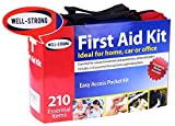 Well-Strong 210 Pcs First Aid Kit with Durable and Compact Canvas Bag for Home, Car, School, Office, Sports, Travel, Survival, Adventure, Marine, Outdoor Hiking and Camping