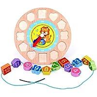 木製 12数字 カラフルなパズルデジタル 幾何学時計 赤ちゃん教育的なレンガ 赤ちゃんおもちゃ 出産ギフト ライオン