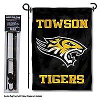 カレッジフラッグとバナーズ Co. Towson Tigers ガーデンフラッグ ポールスタンドホルダー付き