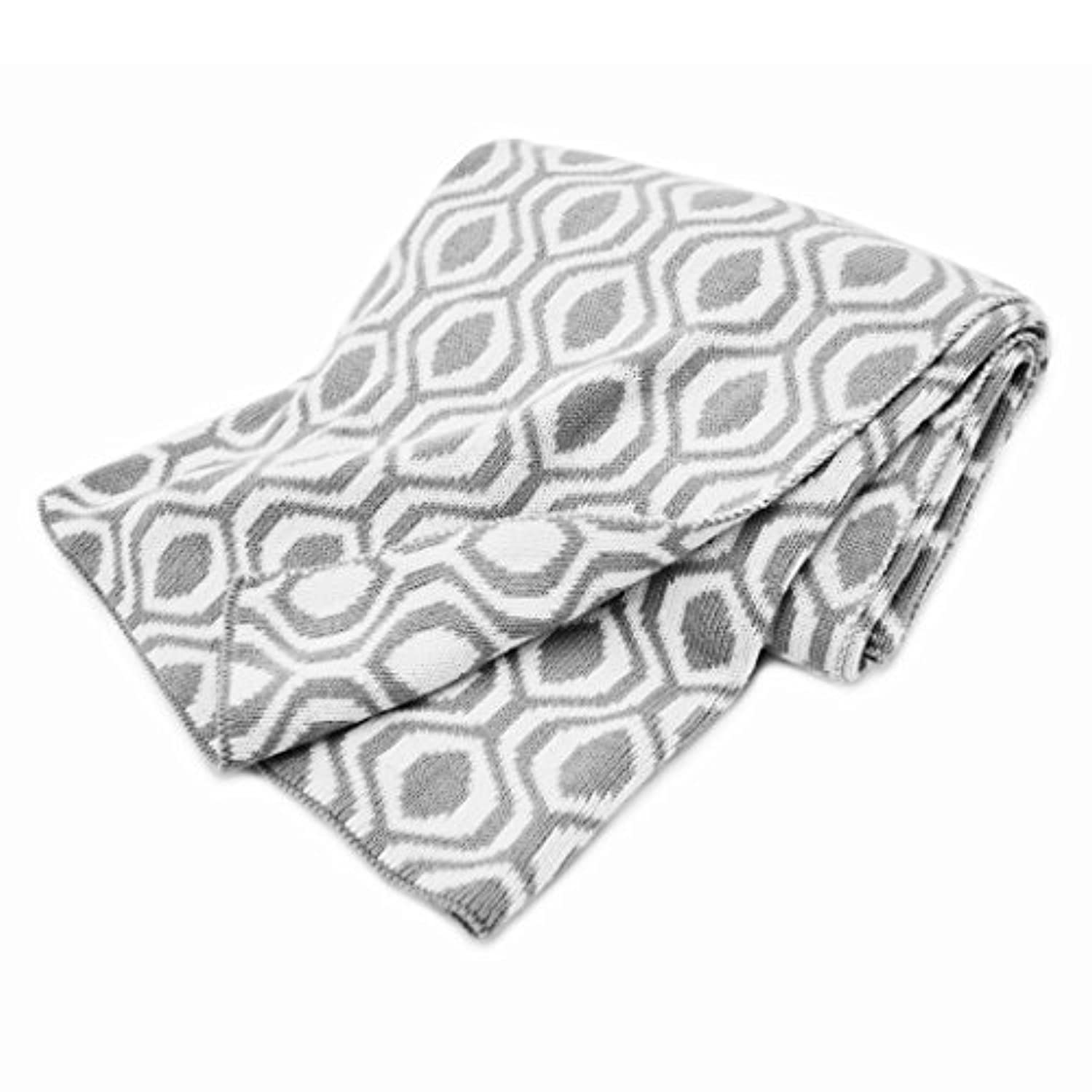 American Baby Company 100% Cotton Sweater Knit Blanket, Gray Ogee by American Baby Company