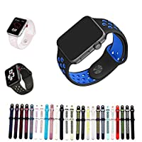 For Apple Watch バンド シリカゲル アップルウォッチNike+ / New apple watch series1/2/3/4用のアップルウォッチバンドとアップルウォッチ 対応 40MM 44MM シリカゲルバンド スポーツシリコンストラップリストバンド交換バンド柔らか運動型 (M/L-40MM, 黒+ブルー)