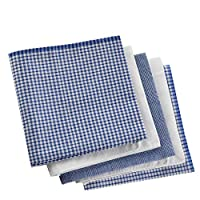 ARAD Men's Handkerchiefs 100% Premium Cotton – Assorted White with Stripe and Blue Checker Pattern - Pack of 5 Hankies