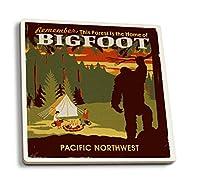 Pacific Northwest - ホーム・オブ・ビッグフット - WPA スタイル 4 Coaster Set LANT-86538-CT