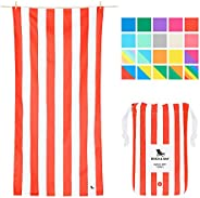 Fast Drying Beach Towels XL - Waikiki Coral Red, Extra Large (200x90cm, 78x35) - Compact Towels Giant Sizes, S