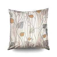 投げ正方形ピローケースカバー18×18インチ、葉と木のパターンアイボリーの背景色両側印刷不可視ジッパーホームソファの装飾枕カバー