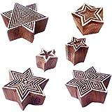 ファブリック 印刷スタンプ ファンシー 星 パターン 木製ブロック (のセット 6)