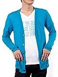 (ロシェル)roshell 春夏専用 カーディガン メンズ カーディガン メンズ カーデ メンズ ニット メンズ ニットソー メンズ カーディガン L ターコイズ