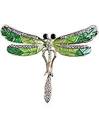 HOMYL Clear Rhinestone Enamel Green Dragonfly Insect Bug Pin Girls Collar Brooch