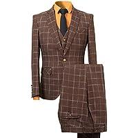 YFFUSHI Men's One Button Brown/Blue Plaid Tweed 3-Piece Tuxedo