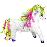 Aztec Imports Unicorn Pinata with Rainbowたてがみ、ホワイト