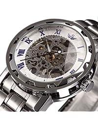 時計、機械式時計 メンズウォッチクラシックスタイルのメカニカルウォッチスケルトンステンレススチールタイムレスデザインメカニカルスチームパンク (ホワイト)