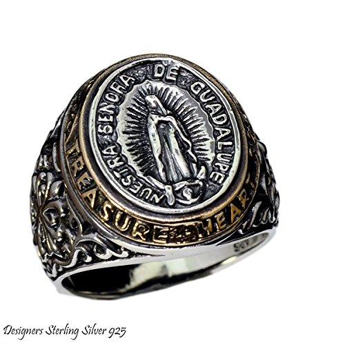 【BLUE GEMS】 シルバー リング 指輪 マリア グアダルーペ メキシコ ;AMTHRI-032-17