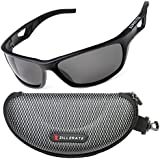 ZILLERATE Mens Womens Polarized Sports Sunglasses - UV400 Protection, Wrap Around Lightweight Unbreakable TR90 Frame - For Cycling Golf Fishing Mountain Bike Skiing Sailing Cricket Tennis Running Walking Hiking Trekking Harley Davidson Motorbike Driving & All Sport & Outdoors - Accessories Include Hard Case, lanyard & Microfibre Cleaning Cloth - Black
