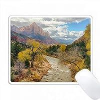 アメリカ、ユタ州、ザイオン国立公園、ヴァージンリバー、ウォッチマン。 PC Mouse Pad パソコン マウスパッド