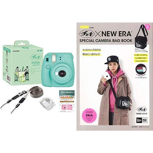 FUJIFILM インスタントカメラ チェキ instax mini8プラス 接写レンズ・純正ショルダーストラップ付き ミント バッグ付きスペシャルブックセット