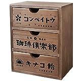 BREA-1590 木製 レトロ柄 3段ミニチェスト 小物入れ 日本製