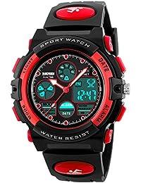 子供 腕時計 スポーツ 防水 小学生 腕時計 デジタル アナログ 男の子 キッズ 目覚まし時計 おしゃれ プレゼント かっこいい ミミコウ (レッド)