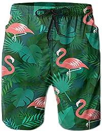 Kevin MCGメンズカジュアルBeachwear Tropical Leavesフラミンゴボードショートホームショーツswim-trunks with Telescopicテープ