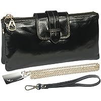 kilofly Large Capacity Genuine Leather Shoulder Bag Wristlet Wallet + Money Clip