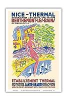 ニース、フランス - スパ - Berthemont-les-Bainsの、フランス - 健康 美しさ - ビンテージな世界旅行のポスター によって作成された アンリ・ル・モニエ c.1950 - アートポスター - 31cm x 46cm
