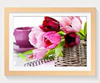 壁掛けインテリア絵画 - チューリップ拡大バスケット花 - 天然木の色 壁掛け モダン インテリア アート 風景画 装飾 壁飾り 部屋の装飾 ポスターー - 50cmx35cm
