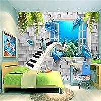 Bzbhart テレビの背景装飾画、壁用ステッカーカスタム現代の3D写真壁画壁紙水中世界の子供部屋3Dテレビソファの背景壁紙家の装飾-350cmx245cm