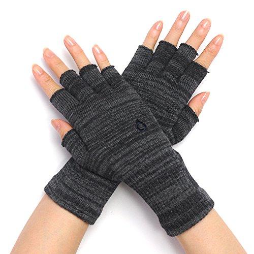 指なし 手袋 ハンドウォーマー 綿 日本製 【841 ハンドウォーマー 】 M グレー×チャコール