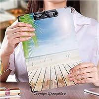 印刷者 クリップボード 用箋挟 クロス貼 A4 短辺とじ フォルダーボードフォルダーライティングボード空の木製テーブルとビーチの背景でパーティーとヤシの葉ぼやけストック画像 (2個)