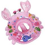 愛い かにの形 浮き輪 足入れ水泳圏 子供用 安全厚いエコPVC 海水浴 ブルー 水遊びに大活躍 推奨年齢 1-5歳 (ピンク)