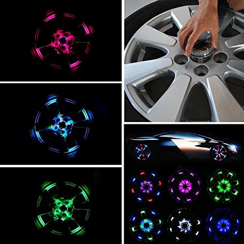 敬グリル代表Liebeye ホイールライト ファッション 魅力的 4つのモード 12 LED 車のオート ソーラーパワーを保存する フラッシュ 装飾