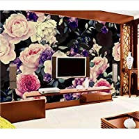 Weaeo 黒ボトムローズフラワー壁紙3Dの壁画リビングルームのテレビの背景3D写真壁画3D壁画壁紙-200X140Cm