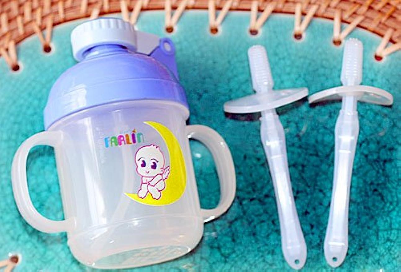 崇拝します授業料受け入れたトレーニング用品 【水筒】 歯ぶらし ポップアップ ストロートレーニングカップ/ シリコン歯ぶらし2本組み ピンク 便利なディリーグッズセット