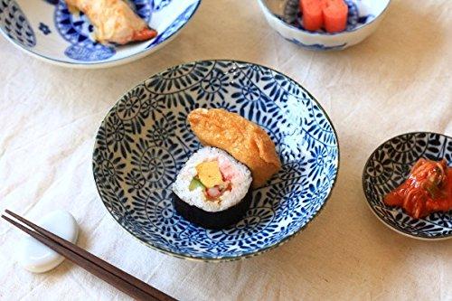 藍染タコ唐草 5.5寸浅鉢 古来からある伝統の柄を美濃焼で