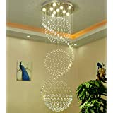 "Chandelier LED 3 Brightness Clear K9 Crystal Ceiling Lights Fixture Lamps Chandeliers Pendant Lights Lighting For Stairs Lobby Country House Showroom Living Room With LED Bulbs and Remote Control (D-23.6"" x H-78.74"""