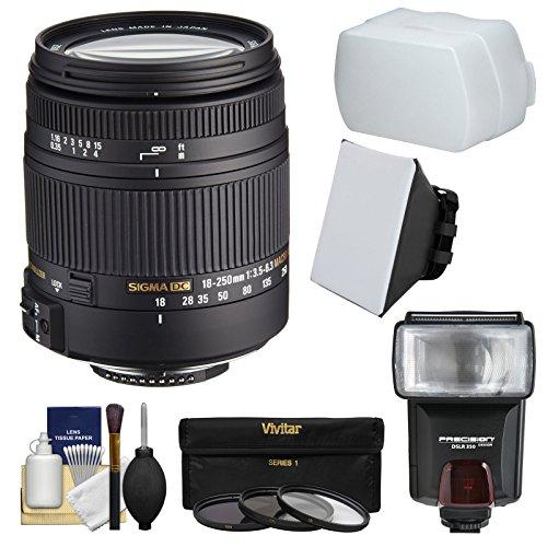 Sigma 18–250mm f / 3.5–6.3DCマクロOS HSMズームレンズとフラッシュ+ディフューザー+ソフトボックス+ 3フィルタキットfor NikonデジタルSLRカメラ