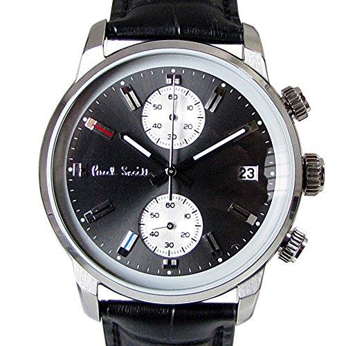 ポールスミス Paul Smith 時計 腕時計 クロノグラフ メンズ ブロック BLOCK CHRONO グレー×ブラック×シルバー レザーベルト P10031 [並行輸入品]