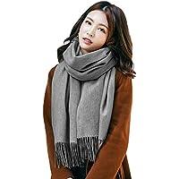 【TaoTech】 ストール マフラー ウール 大判 スカーフ 無地 フリンジ付き カシミヤタッチ 男女兼用
