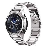 iBazal Gear S3 バンド galaxy watch 46mm Galaxy Huawei Watch GT兼用 moto360 22mm 時計バンド精密制作 ステンレスバンド 調整工具付き ウォッチバンドメタル 男女共用 マット質感(ステンレス-シルバー) …