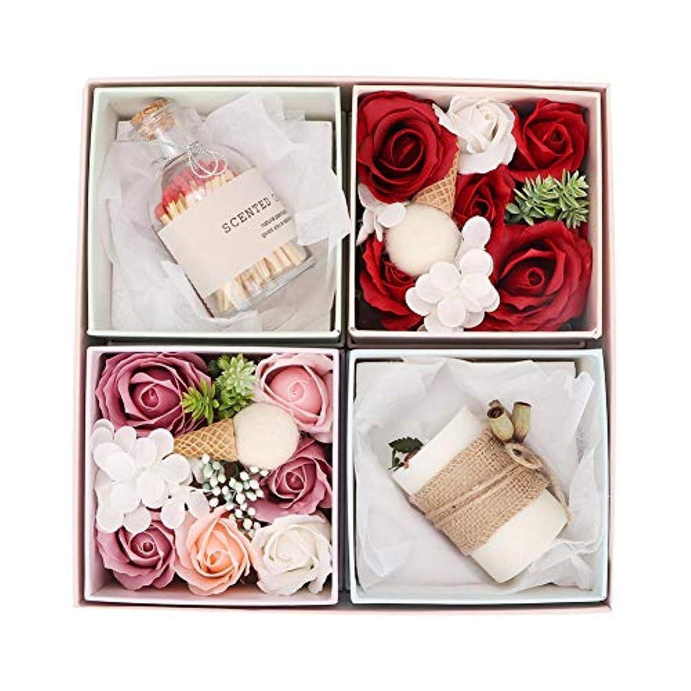 ハンマームス伝統石鹸のギフトボックス、繊細な手作りのバラの花の石鹸の香りのキャンドルボックスバレンタインの日、誕生日のロマンチックなギフト