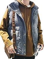 DeBangNi メンズ ベスト 秋冬 厚手 防寒服 アウター ジャケット 無地 袖なし スタンド シンプル チョッキ 韓国風 ファッション カップル トップス おしゃれディープブルーN4
