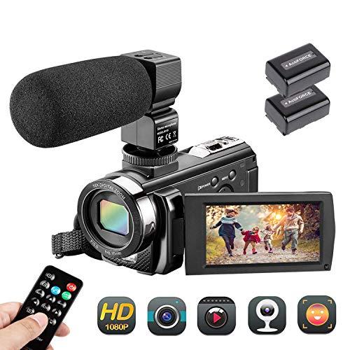 ビデオカメラ AiTechny デジタルビデオカメラ HD1080P 遠隔操作可 外付けマイク 3.0インチ液晶ディスプレイ 16倍デジタルズーム モコン付属 バッテリー*2 三年保証