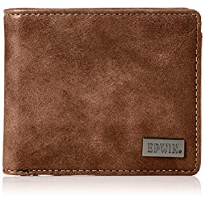 [エドウィン]二つ折財布 ダークメタルプレート ダークブラウン