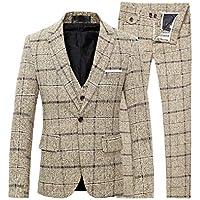 MogogN Men's Classic with Pocket 3PCS Plaid Oversize Suit Set Blazer Jacket Pants