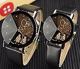 ZooooM ユニーク カップル 恋人 シルエット デザイン ウォッチ 腕 時計 クォーツ フェイク レザー バンド ファッション カジュアル 女性 男性 レディース メンズ 男 女 兼 用 ( レディース / ブラック ブラック ) ZM-WATCH1716-L-BKBK