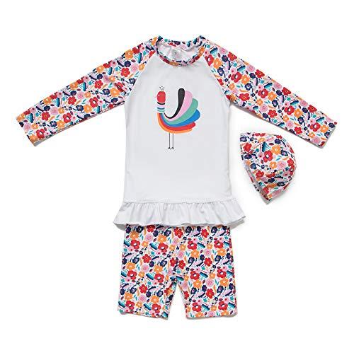 0702e3aebe211 Bonverano 水着 女の子 ラッシュガード 長袖 2-5歳 ガールズ UPF50+ 日焼け止め UVカット 上下セット キャップ付き 3点セット  (White