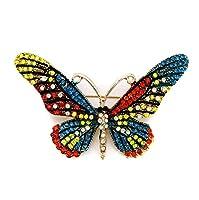Timesuper バタフライブローチ 蝶 昆虫 ラインストーン 綺麗 スカーフクリップ 胸元 ブローチ ピン タックピン 胸飾り コサージュ 服装のアクセサリー ギフト 合金製