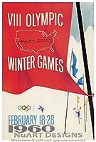 """ヴィンテージ冬スポーツAdvertisement Reproduction Gicleeポスター"""" VIII Olympic Winter Games–スコーバレー、アメリカ、1960。」 9x13"""