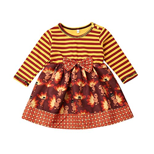 Nokpsedcb Thanksgiving Days Toddler Kids Clothing Baby Girls Cute Turkey Stripe Party Tutu Princess Mini Dress Outfits Clothes (Yellow, 18-24 Months)